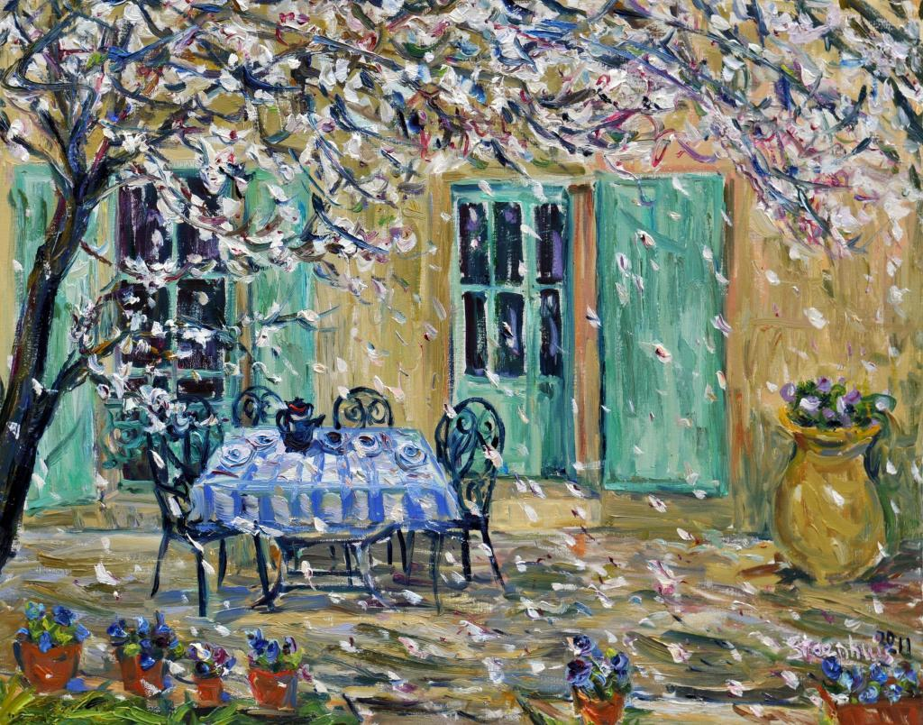 Falling Almond Petals at l'Abeille 2011 Jill Steenhuis #Provence