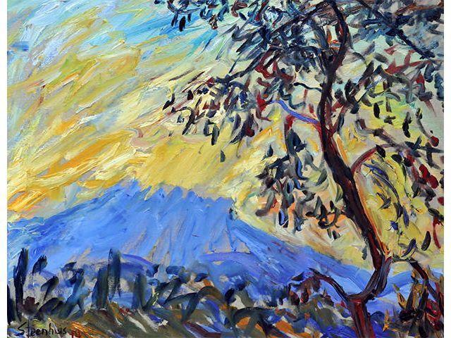 Golden Sunrise on Mt. Ste. Victoire 2014 Jill Steenhuis #Artist #Provence