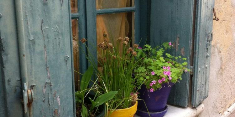 France This Year Un-shuttered windows and pots with bright flowers @bfblogger2013