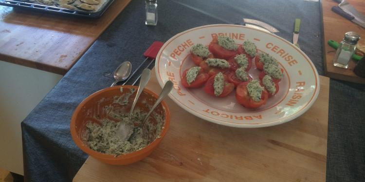 Tomatoes with Bruccio Quenelles @ProvenceCook #Provence #CookingClasses
