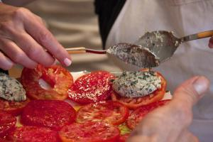 Tomatoes with brousse quenelles
