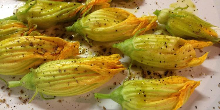 stuffed zucchini flowers @ElizabethBard #Recipe