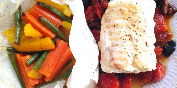 "Cod Fillet on Tomato, Basil and Olive Compote with Vegetables ""en Papilliote"" @MirabeauWine"