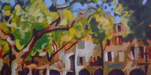 Painting Uzes Place aux Herbes #Uzes #PlaceauxHerbes @dgnbarker