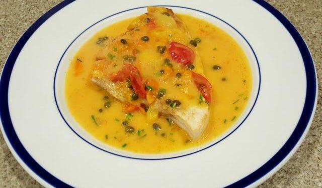 Swordfish with Tomato Caper Butter Sauce #Recipe @OurHouseinProvence