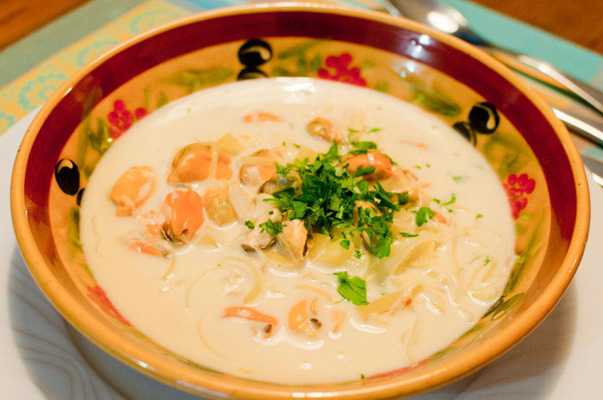 Mussels Cream Soup with Saffron and Leek @Cooknwithclass