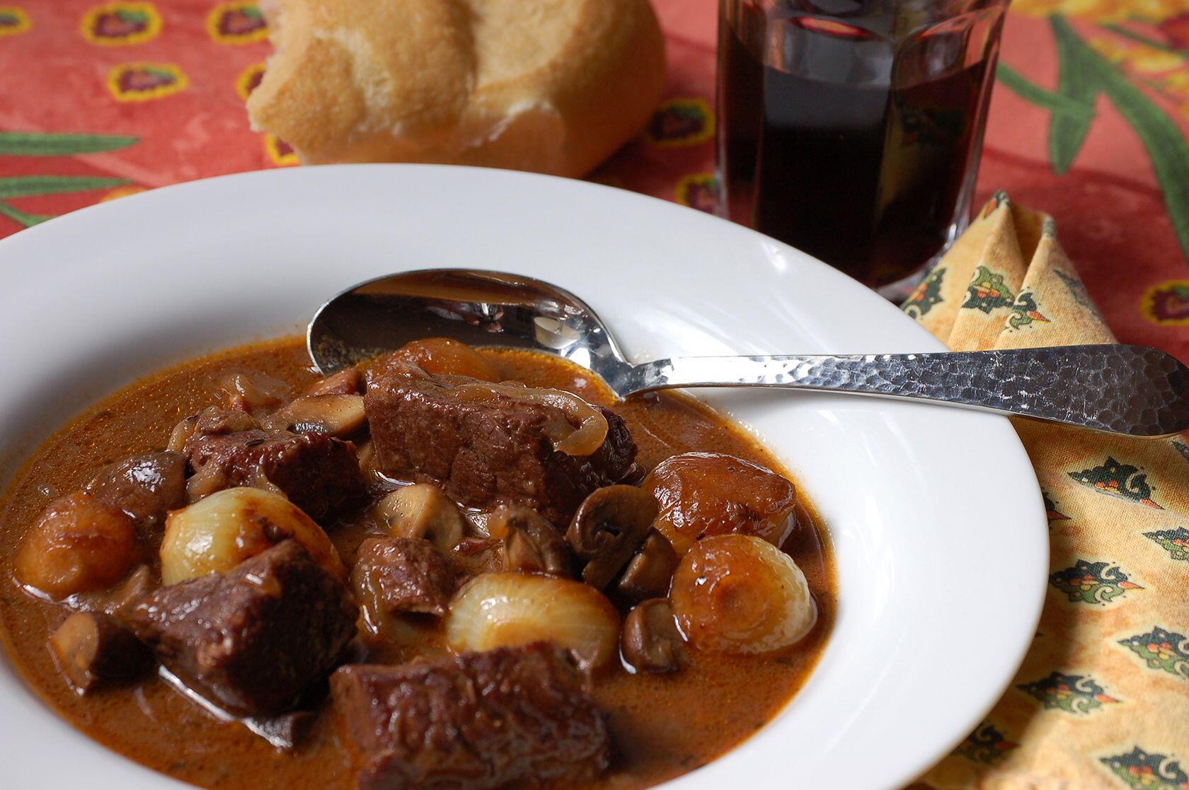 a provencal variation of boeuf bourguignon perfectly