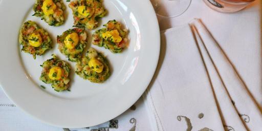 Shrimp Appetizer zucchini fritters @CocoaandLavender