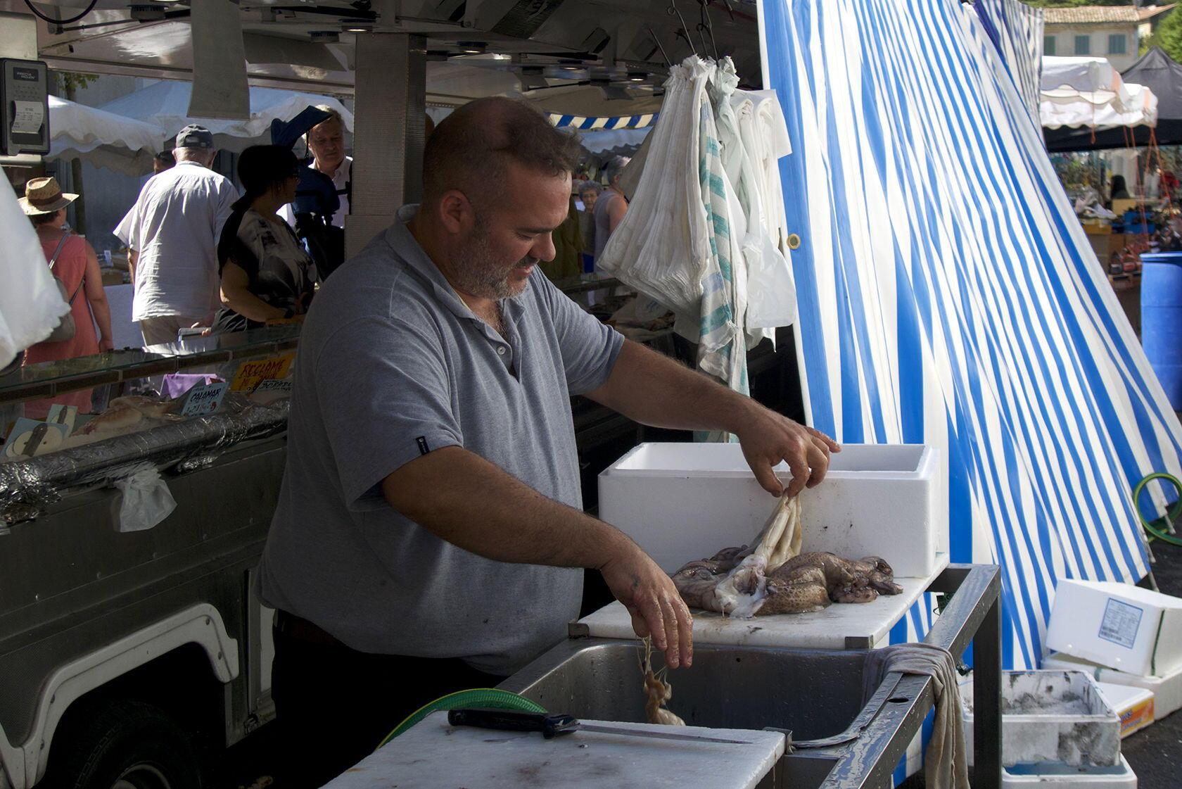 Apt Market fishmonger Markets Tastes of Provence