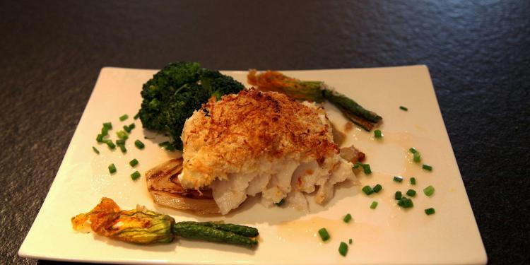 Roast Cod with Stuffed Courgette Flowers #Recipe @MasdAugustine