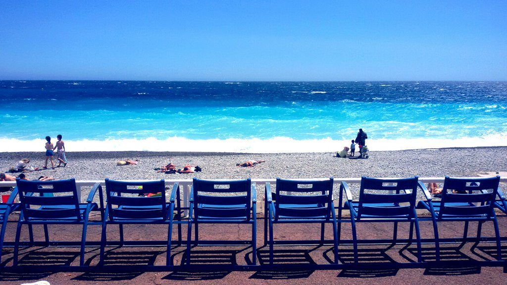 Blue Chairs in Nice #Nice06 #FrenchRiviera @ToursofNice