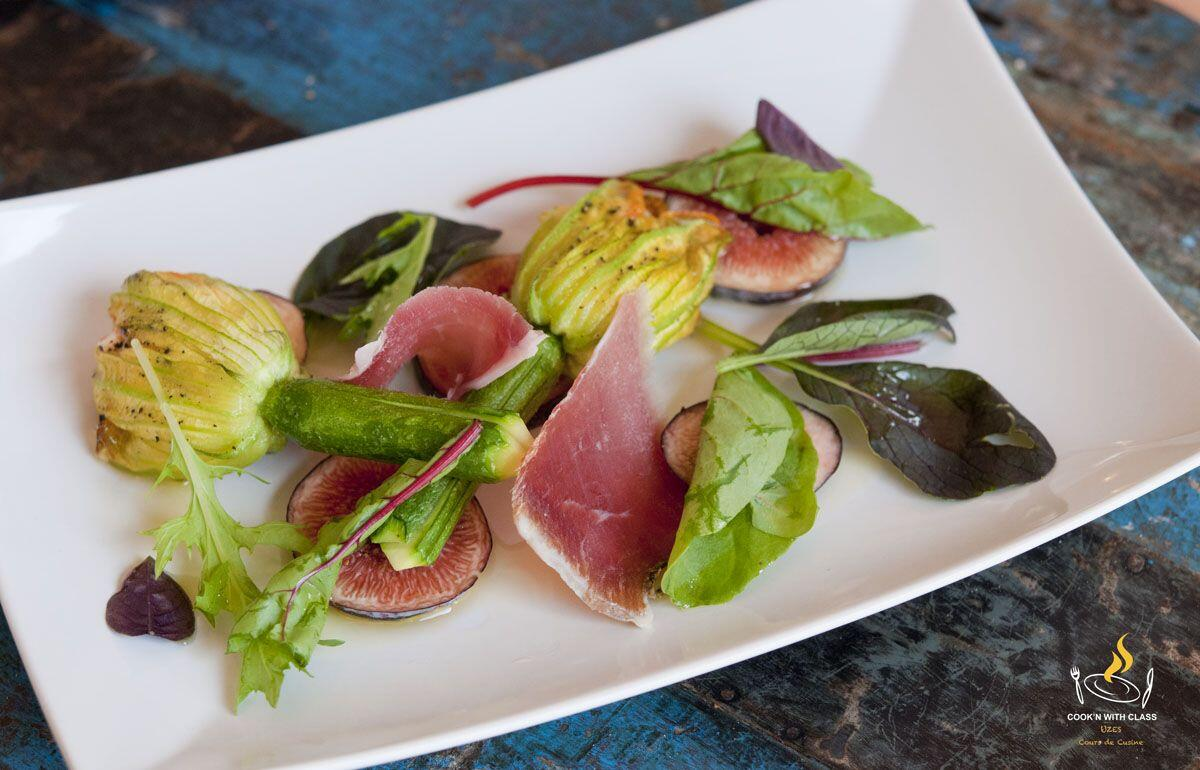 Stuffed Zucchini flower with goat cheese, figs and ham @CooknwithClass #TastesofProvence