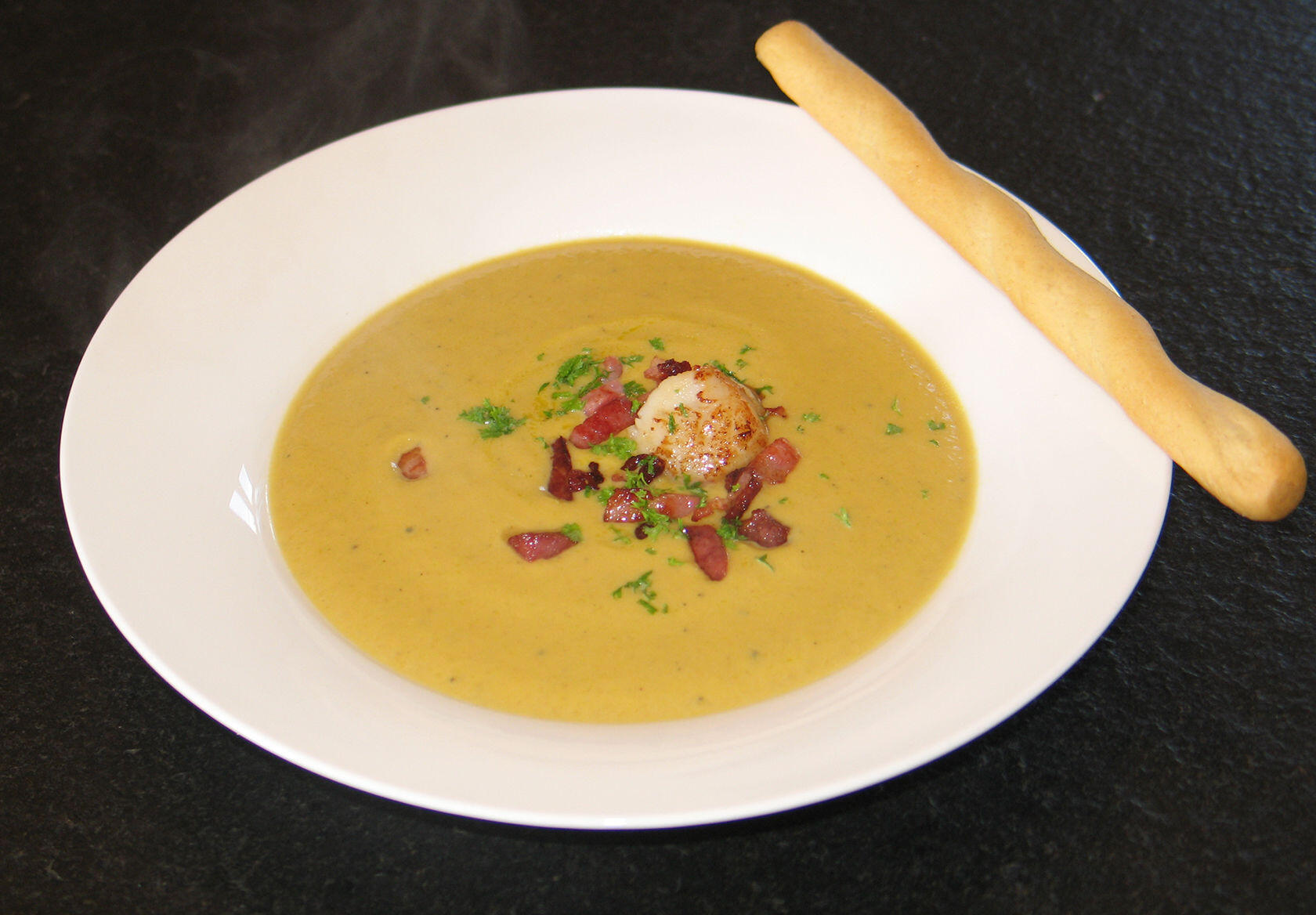 Butternut Squash Soup with Pan-Fried Scallop @Masdaugustine