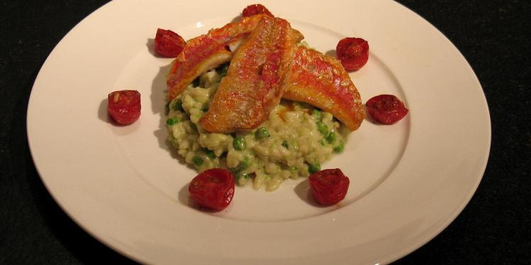 Fillet of Red Mullett with Pea Risotto @Masdaugustine
