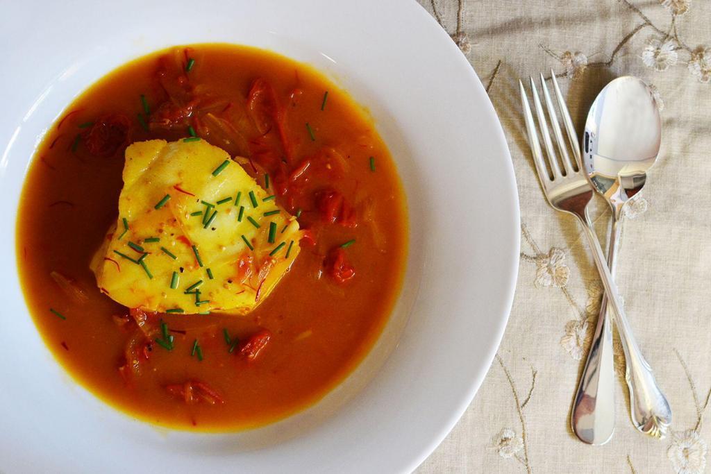Poached Sea Bass saffron tomato broth