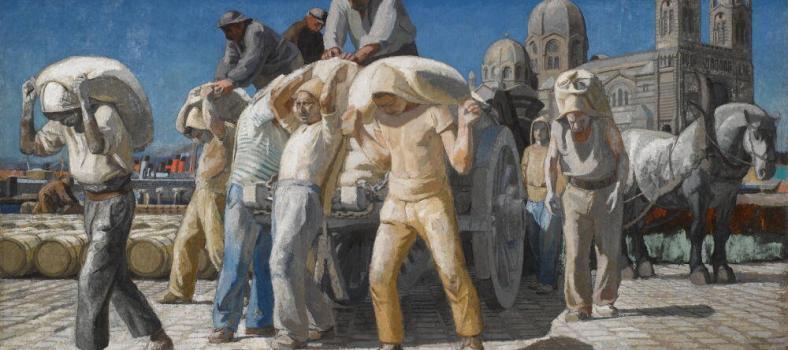 Joseph Inguimberty Le Débarquement du plâtre; huile sur toile; 1923