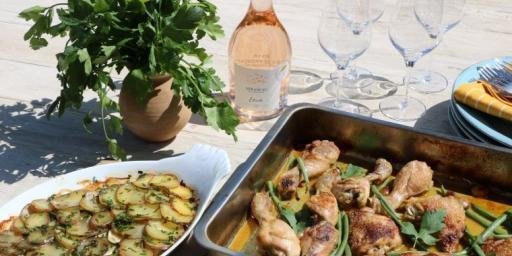 Saffron Chicken Potato Courgette Bake Mirabeau Wine