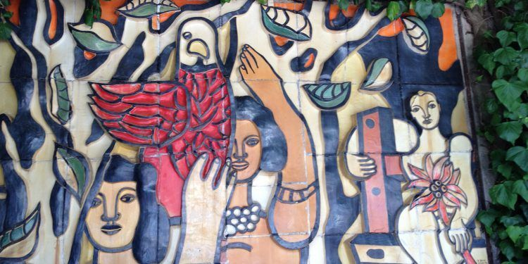 Mural by Fernand Fleger 1952, in the patio La Colombe d'Or St Paul de Vence The Monaco Reporter @CelinaLafuenteDeLavotha
