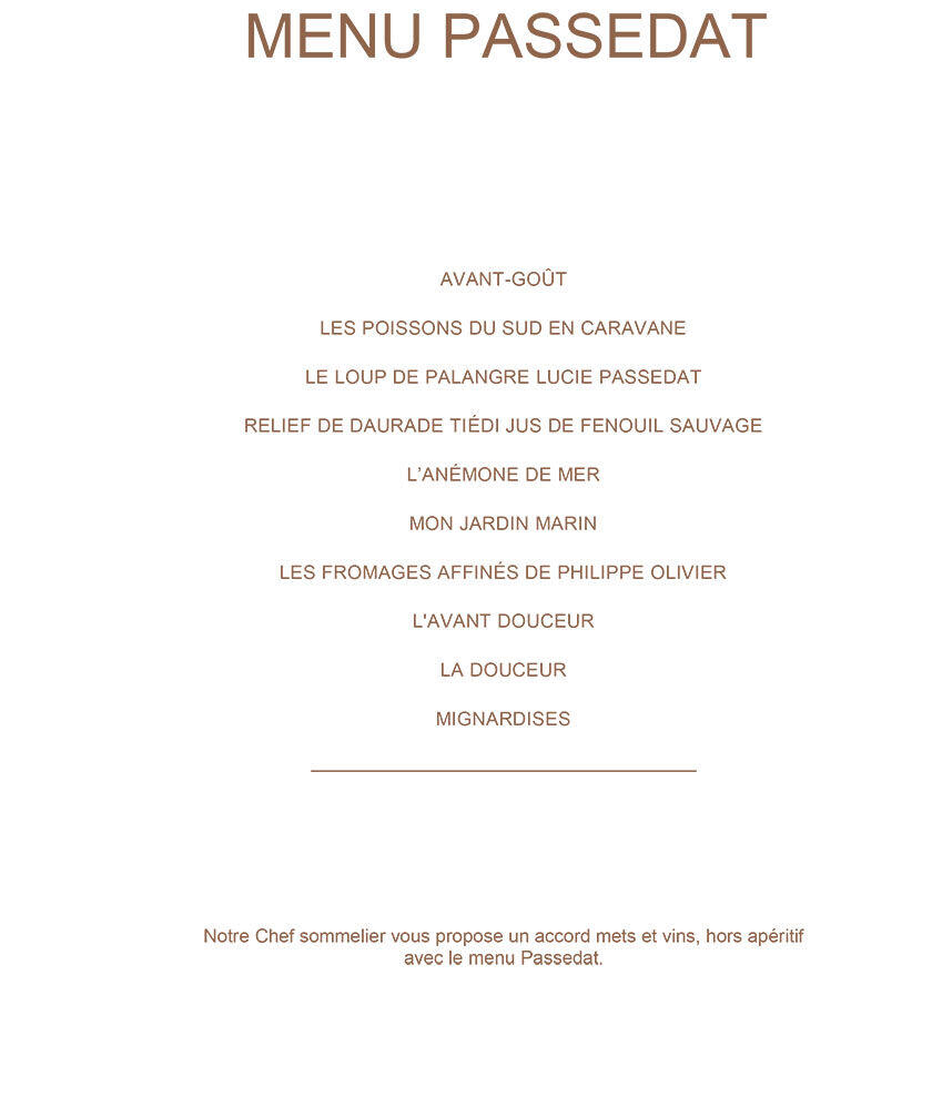 Luxurious le Petit Nice Menu