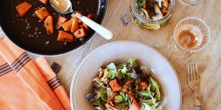 Mushroom Roast Pumpkin Salad @MirabeauWine