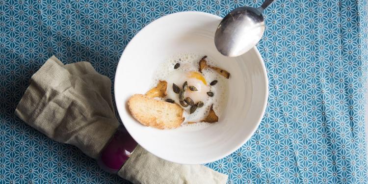 L'Oeuf Parfait Mushrooms Parmesan