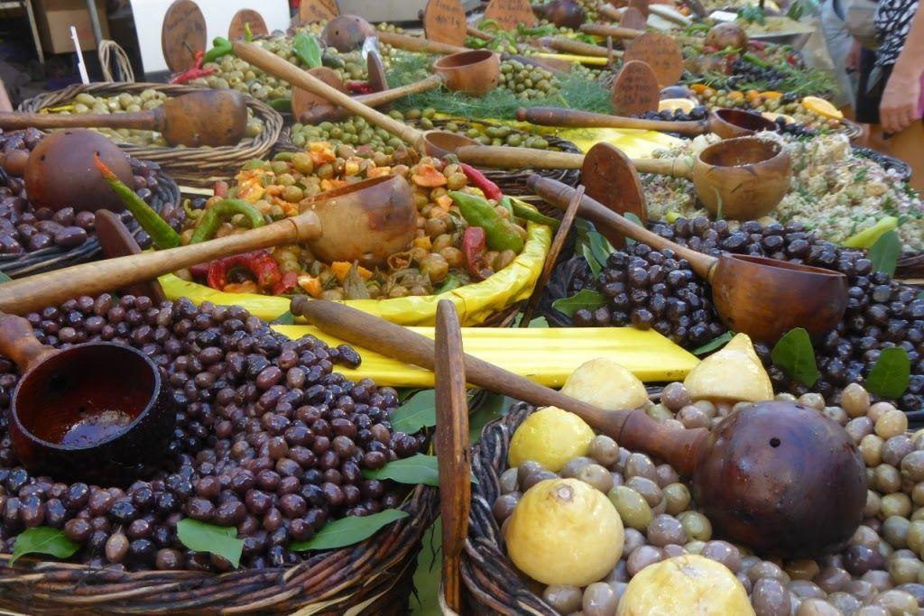 Olives on display at Saint-Remy's Wednesday market Provence Retirement Home Gayle Padgett