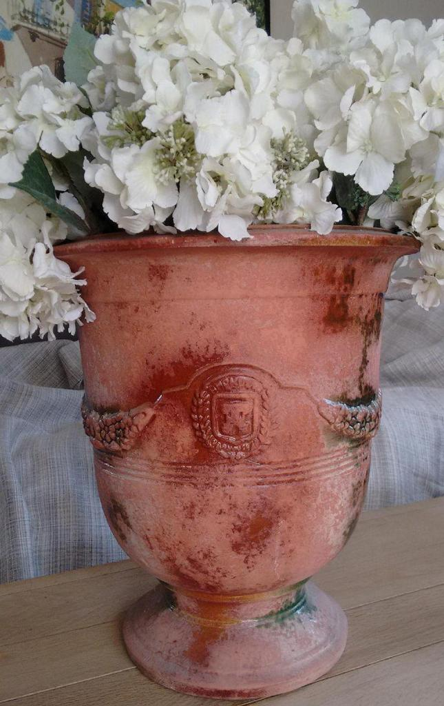 Partially-glazed Anduze pot Provencal Decor Gayle Padgett