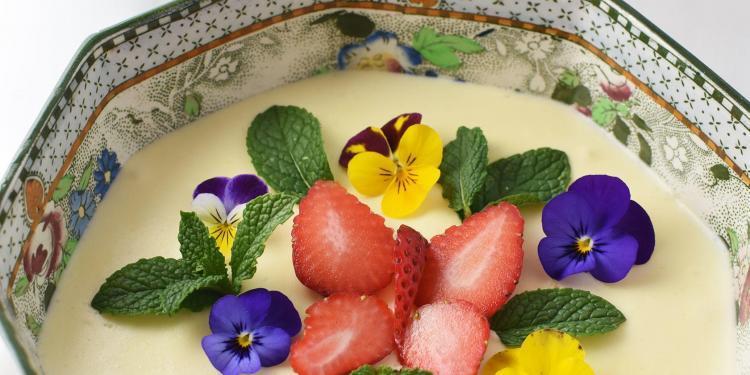 White Chocolate Mousse Strawberry Sauce Dessert