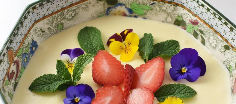 White Chocolate Mousse Strawberry Sauce Dessert