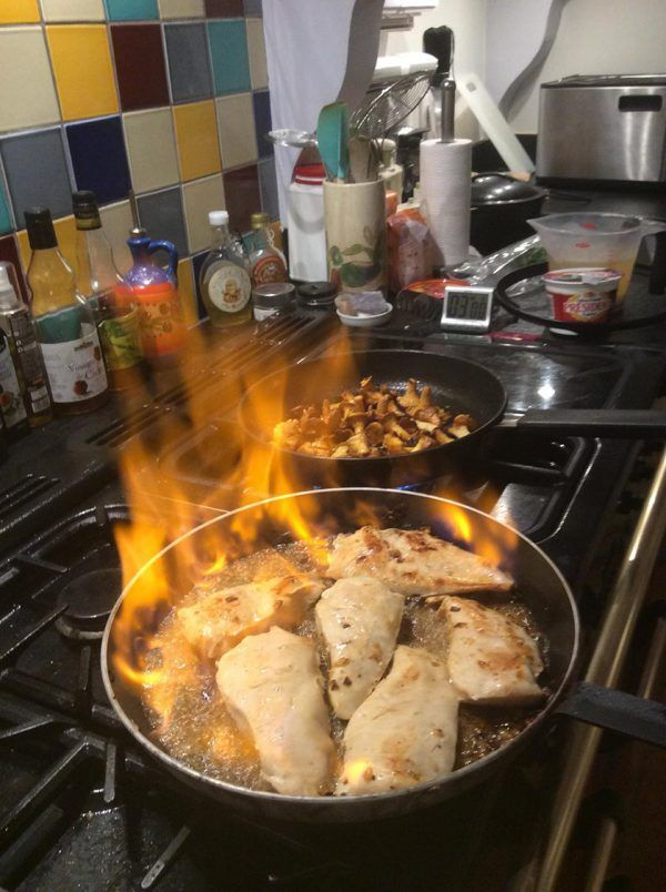 Flambéed Chicken