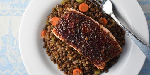 Smoky Cinnamon Salmon Mushroom Lentils