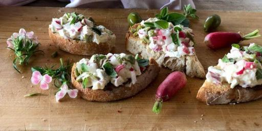 Radish Green Olive Tartare Sourdough Bread