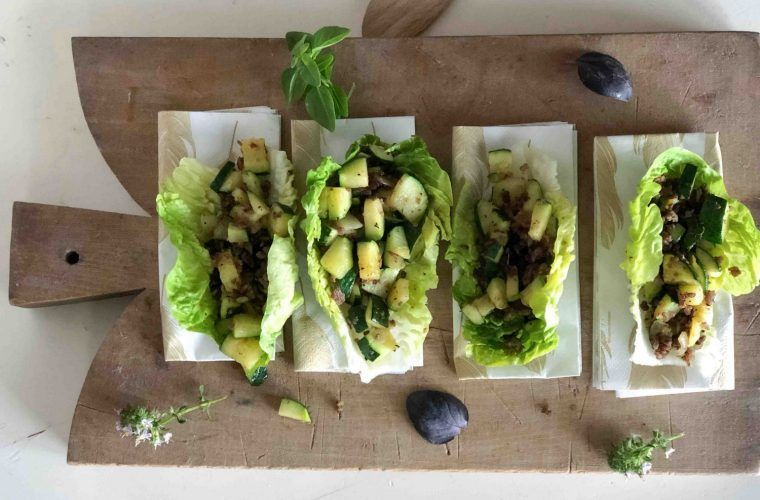 Fried Beef Lettuce Cups Provencal Zucchini