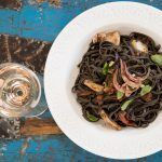 Squid Ink Pasta With Squid and Rosé