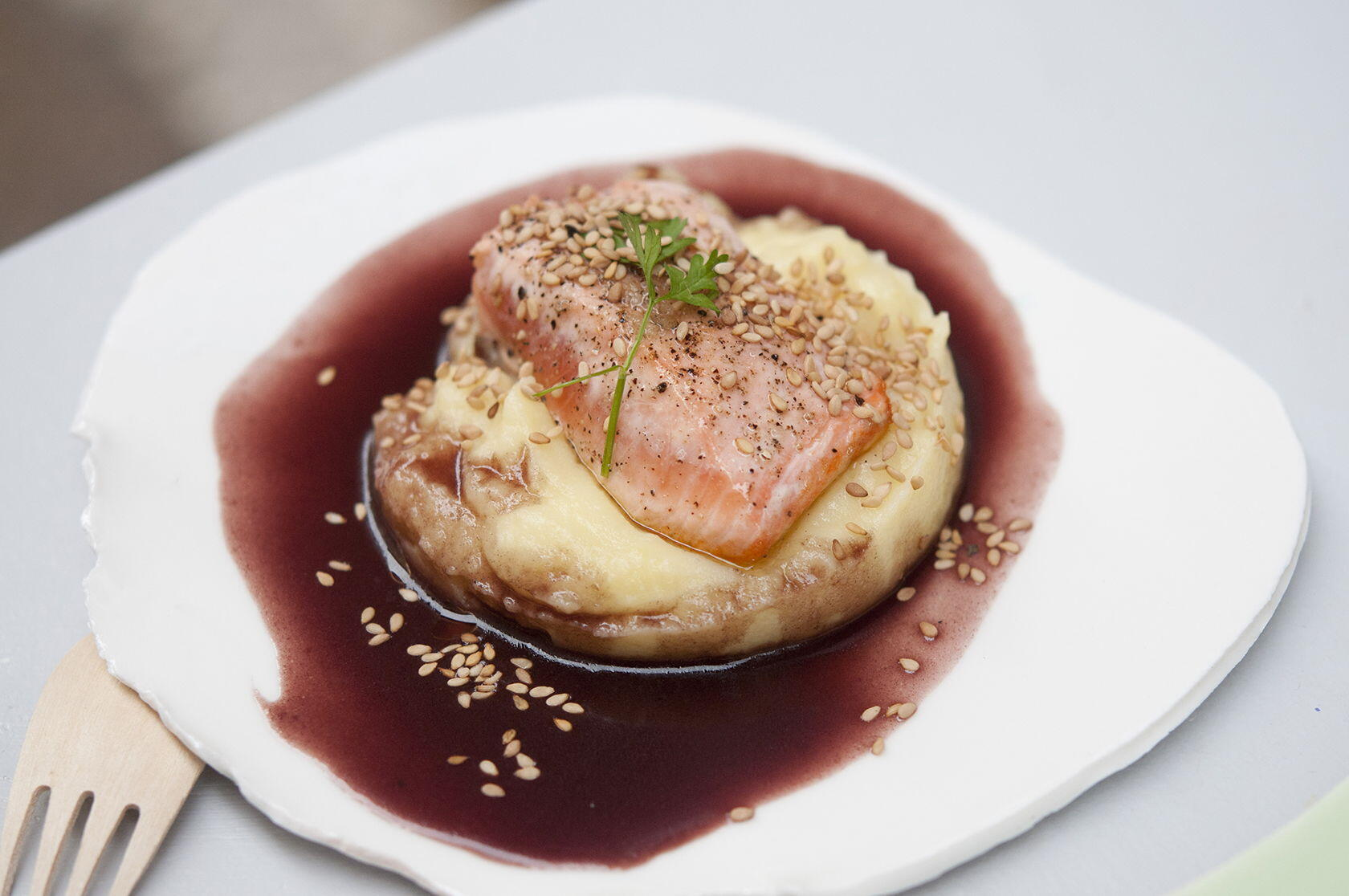 Seared Salmon Red Wine Shallot Sauce