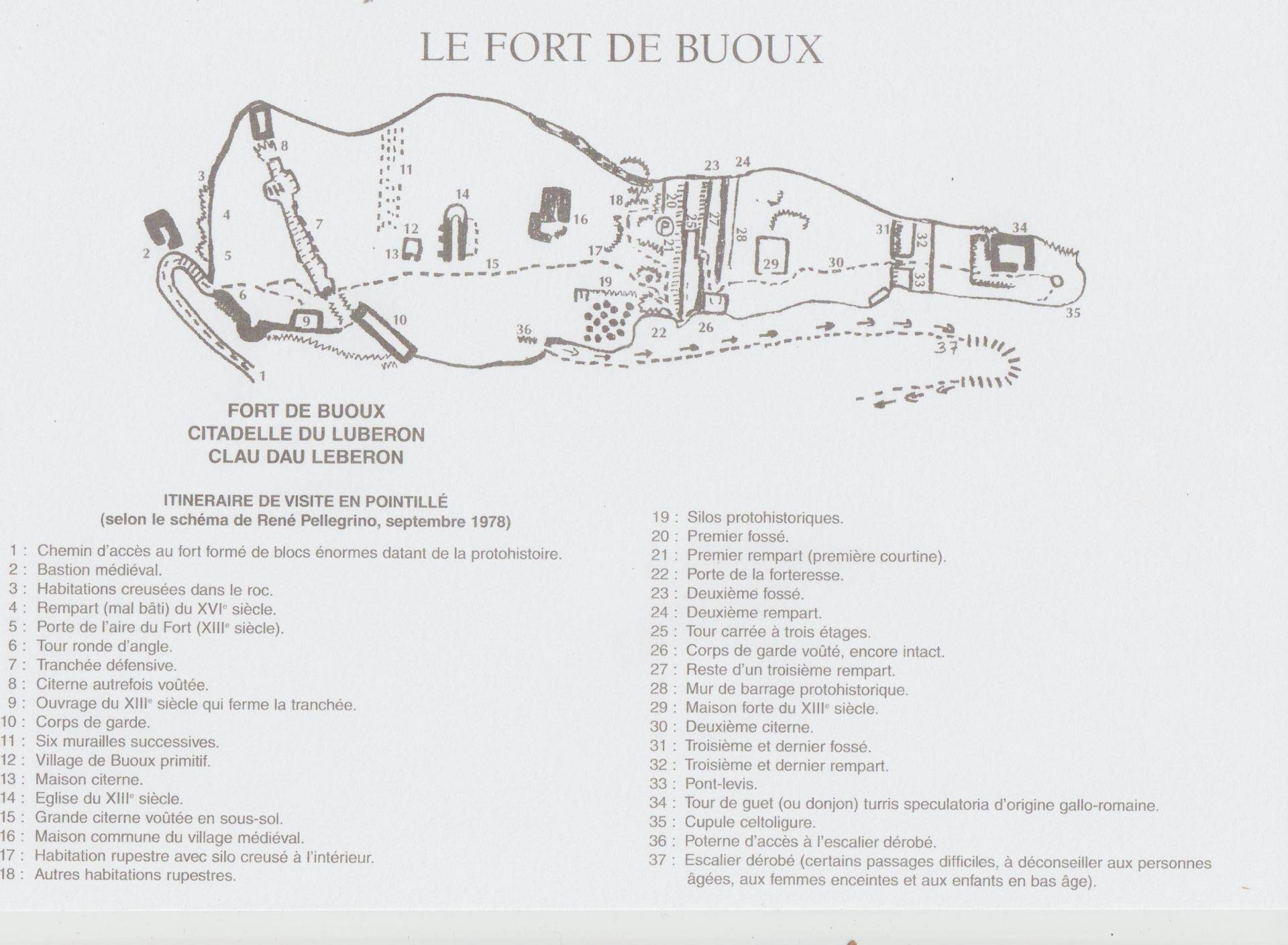 Ruins Fort Buoux Luberon Site Map