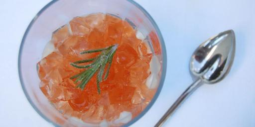 Verrine of Cambozola Mousse, Spiced Rosé Gelée, and Crystalized Rosemary