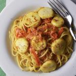 Saffron Spaghetti Buttery Scallops