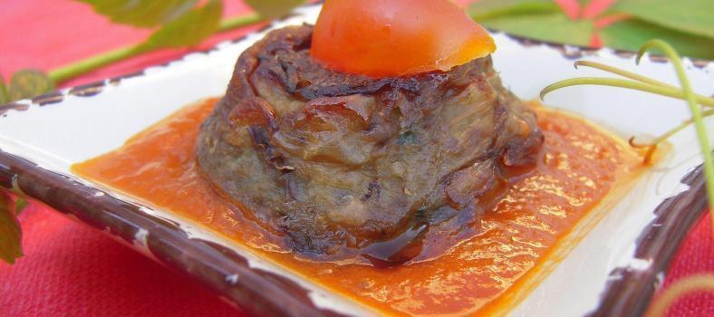 Eggplant Cakes Pesto Sauce Papeton Aubergines