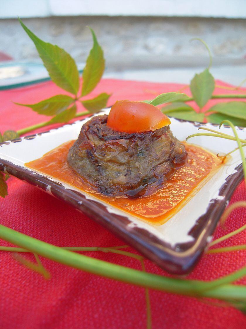 Eggplant Cakes Tomato Pesto Sauce