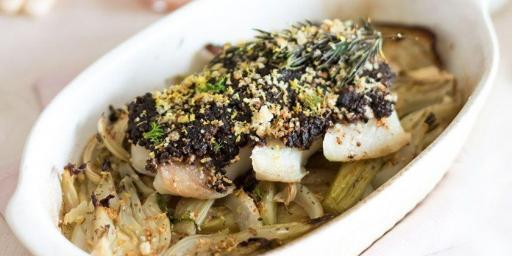 Olive Tapenade Crusted Cod