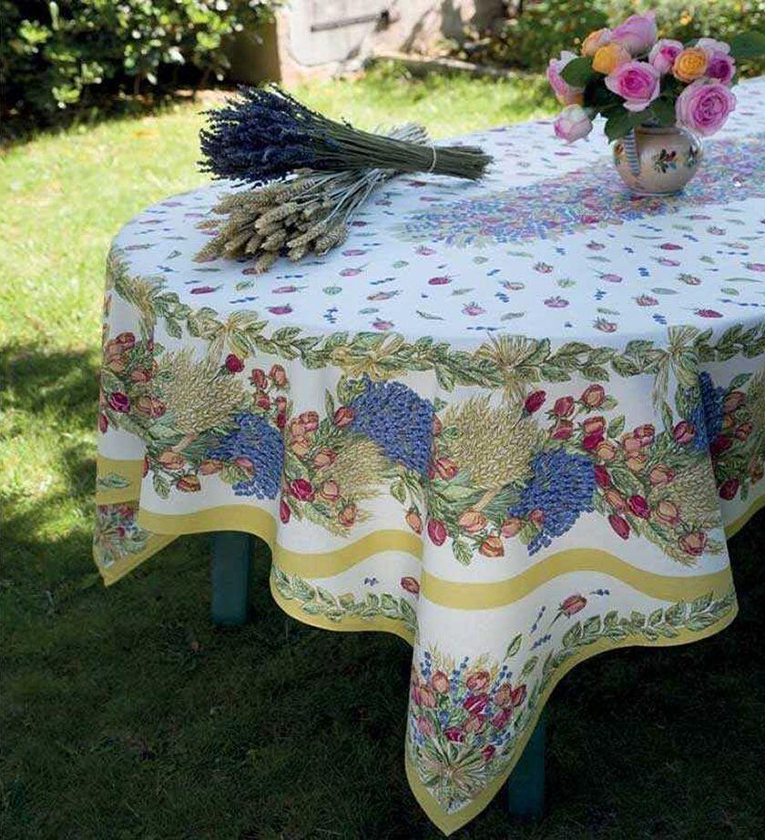 Provencal Fabrics oval-table-cover-roses-et-lavandes