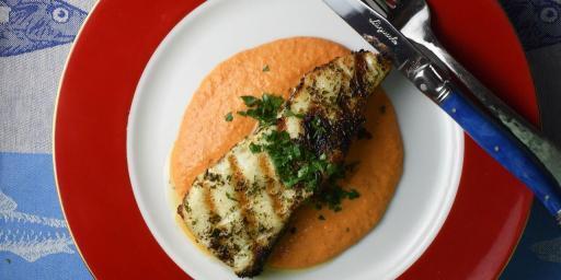 Grilled Sea Bass Romesco
