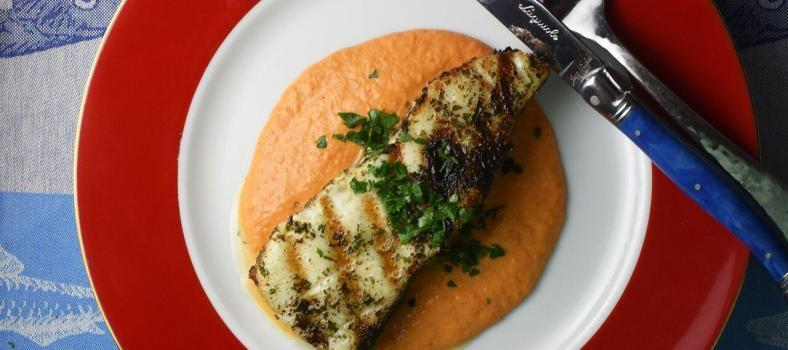 Grilled Sea Bass Romesco