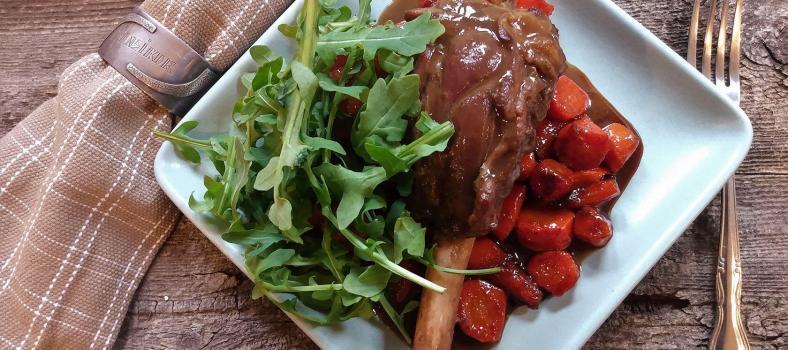 Winter Dinner Party Menu Slow-Cooked Lamb Shank (Souris d'Agneau)