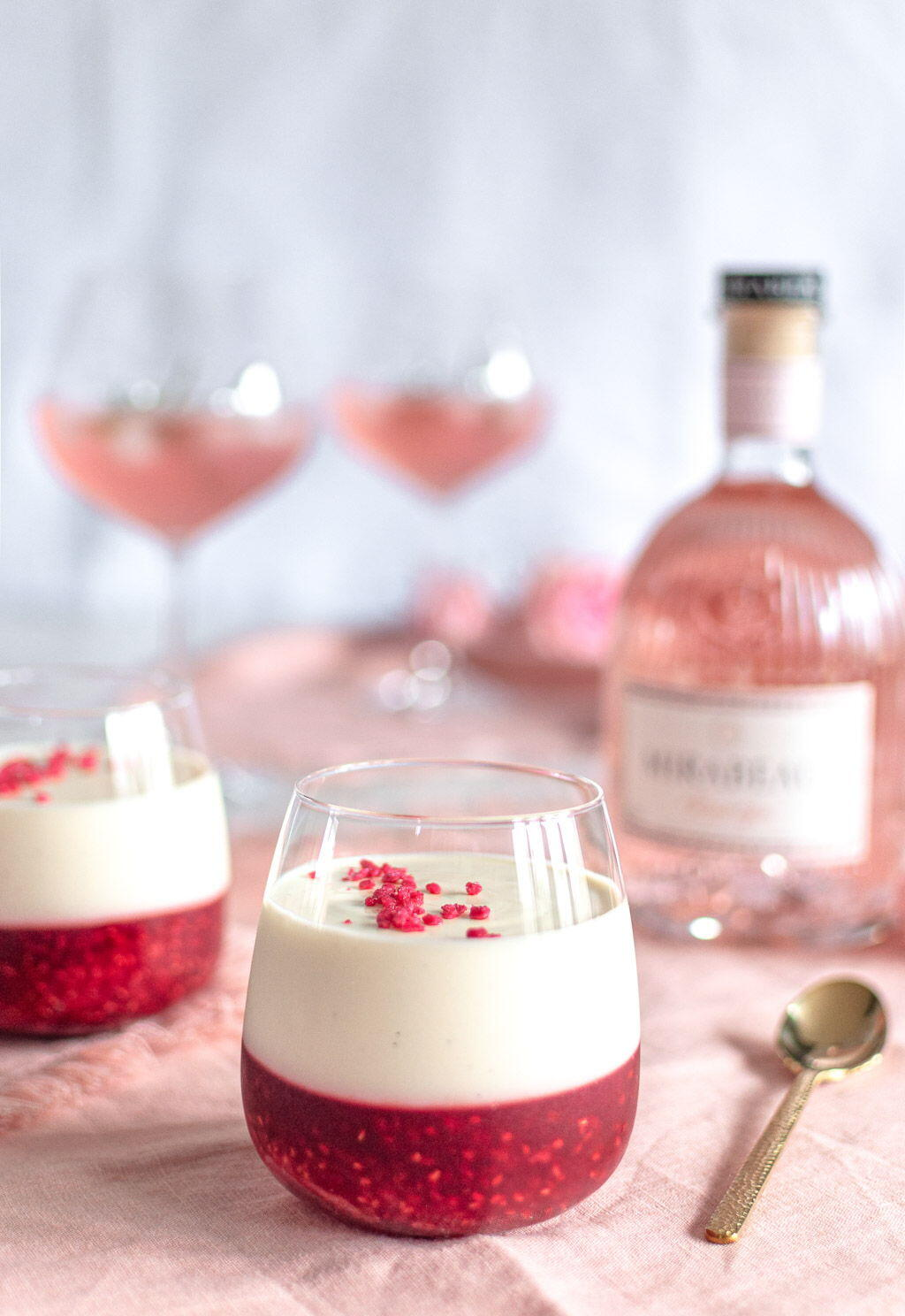 Raspberry Gin Panna Cotta