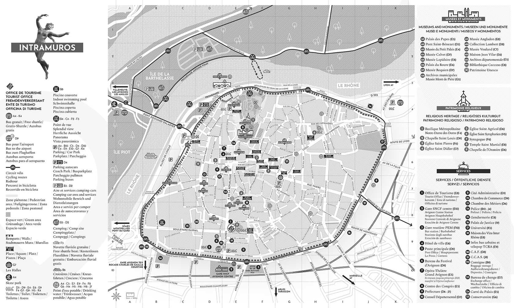 Avignon Tourism Map Intramuros