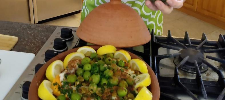 Moroccan Tagine with Fish, Sweet Potatoes and Golden Raisins