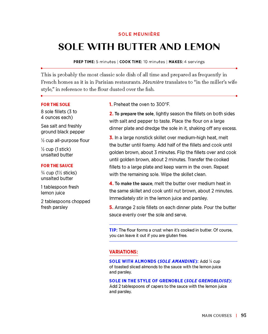 Sole with Butter and Lemon recipe How to Write a French Cookbook