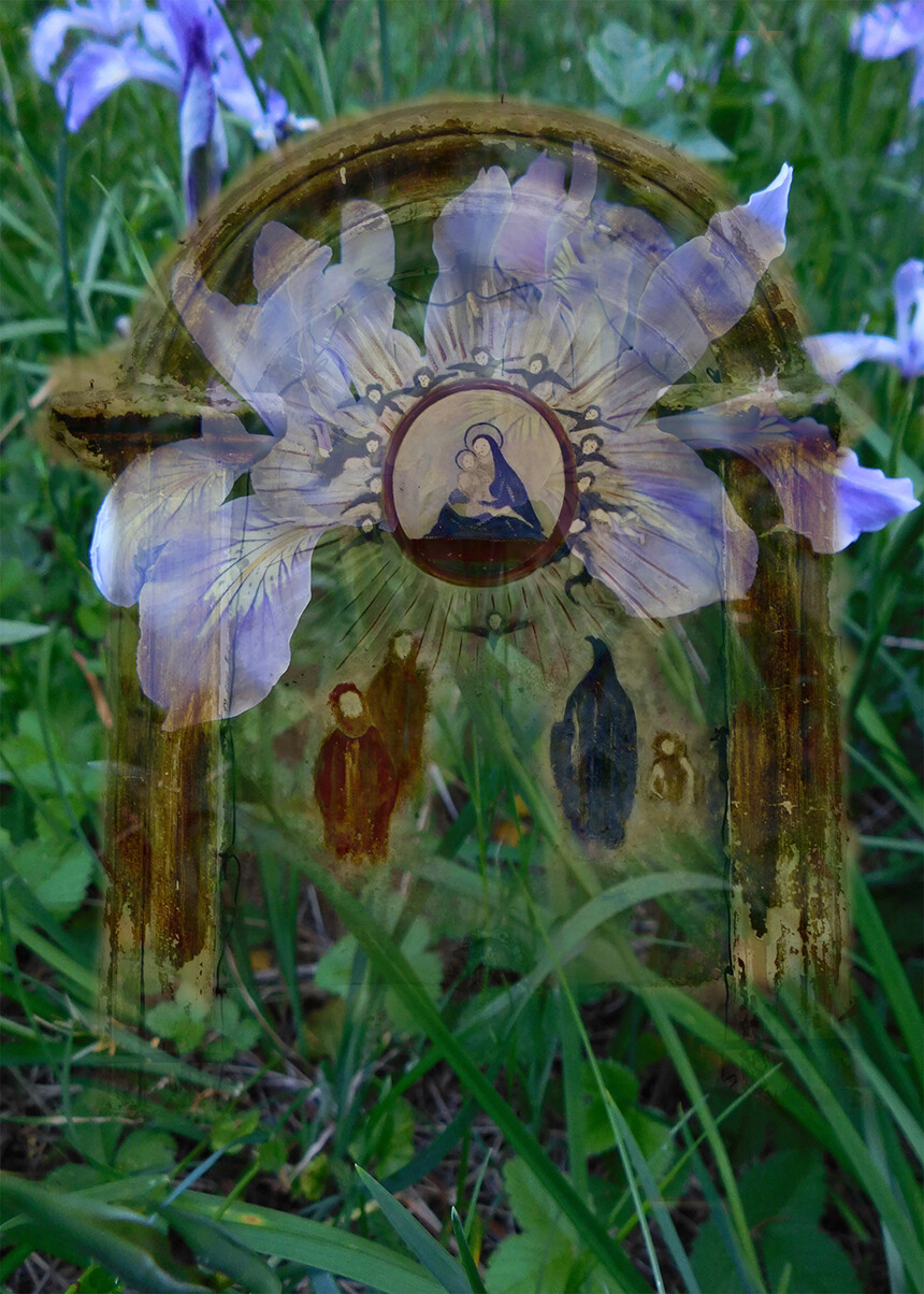 A street shrine over wild iris